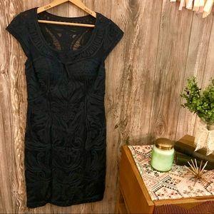 {sue wong} chic navy blue ribbon appliqué dress 6